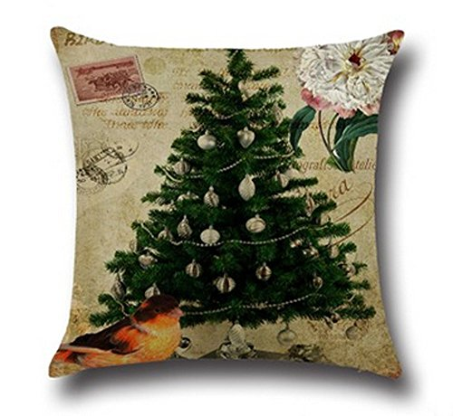 ONECH Cotton Linen Cute Santa Claus Reindeer Snowman Snowflake Christmas Tree Little House Bird Gift Ho Ho Ho Merry Christmas & Happy New Year Design Throw Pillow Case