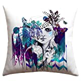 DENY Designs Holly Sharpe Tribal Girl Colourway Outdoor Throw Pillow, 16 by 16-Inch