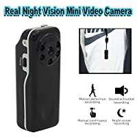 Conbrov DV12 Real Starlight Night Vision Mini Portable Hidden Spy Video Camera Voice and Motion Activated Recorder DV Cam for Wearable Pocket or Indoor Home Security use
