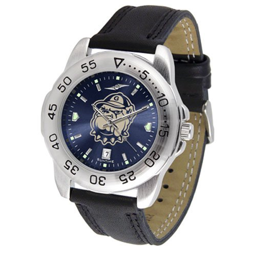 Suntime Georgetown Hoyas Ncaa Anochrome Sport Mens Watch Leather Band