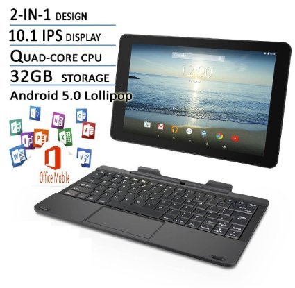 RCA Viking Pro Flagship Black Edition 10.1 Touchscreen 2 In 1 Tablet Laptop, Detachable Keyboard, Free Office Moblie APP, Quad-Core Processor,32G storage, IPS Display, Android 5.0 Lollipop (Tablet With Apps compare prices)