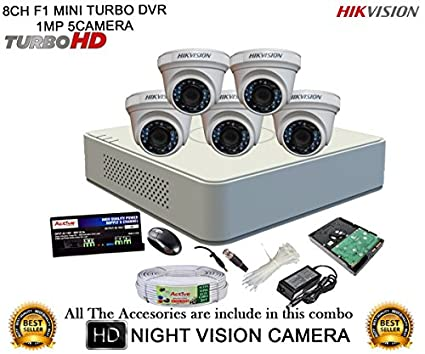 Hikvision-DS-7108HGHI-F1-Mini-8CH-Dvr,-5(DS-2CE56COT-IR)-Dome,-1(DS-2CE16COT-IR)-Bullet-Camera-(With-Mouse,2TB-HDD,-Bnc&Dc-Connectors,Power-Supply,Cable)