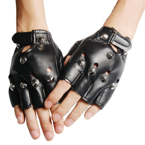 SWT Pointed Studs Black Leather Faux Fingerless Gloves Goth Biker 80'S Fancy Dress