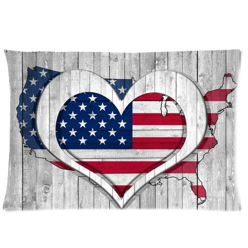 Butuku American Flag Map With Heart Custom Rectangle Soft Pillow Case Standard Size 20X30 front-595096