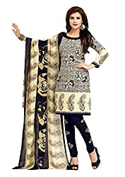Nazaquat Beige Printed Crepe Unstitched Dress Material