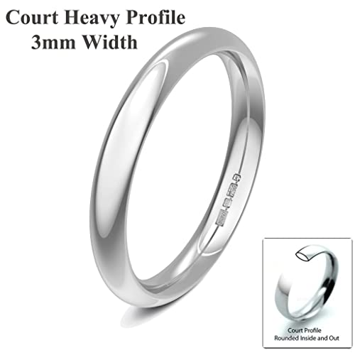 Xzara Jewellery - 9ct White 3mm Heavy Court Profile Hallmarked Ladies Gents 2.9 Grams Wedding Ring Band