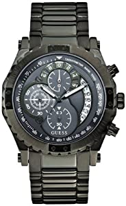 Guess U0036G1 chronograph grey dial gunmetal stainless steel band men watch NEW