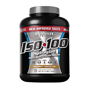 Dymatize Nutrition ISO 100 Hydrolyzed 100% Whey Protein Isolate, Gourmet Chocolate, 3 Pounds