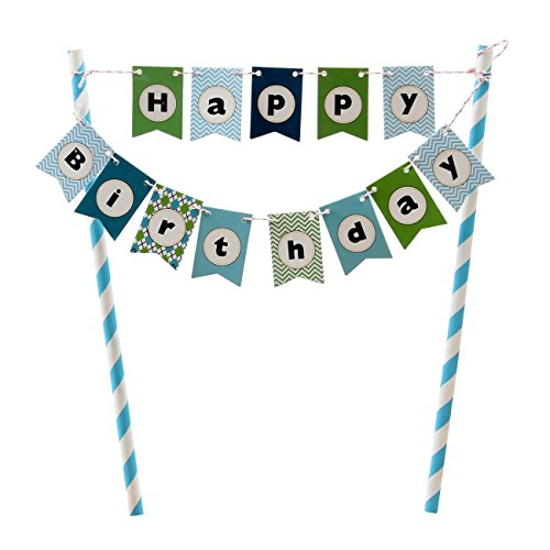 Happy Birthday Cake Bunting Banner Cake Topper Multicolor Pennant