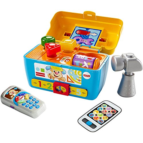 Fisher Price Laugh and Learn Smart Stages Toolbox, Puppy's Remote and gray Smart Phone toy for Boys and Girls 6 Month and Up (Math Drill Express compare prices)
