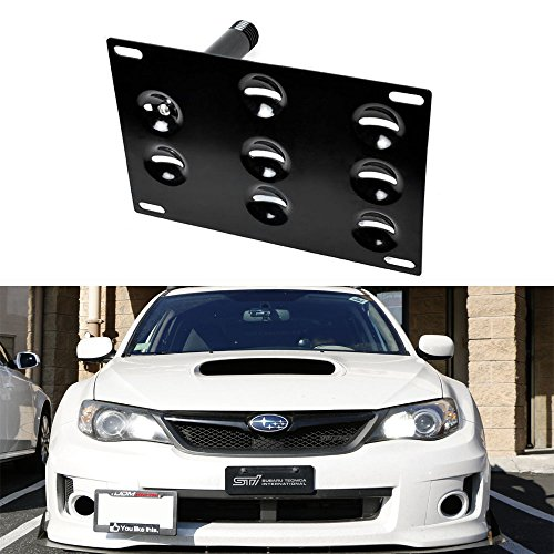 iJDMTOY Front Bumper Tow Hole Adapter License Plate Mounting Bracket For 2008-2014 3rd Gen Subaru WRX and WRX STi (Wrx Sti Tow Hook compare prices)