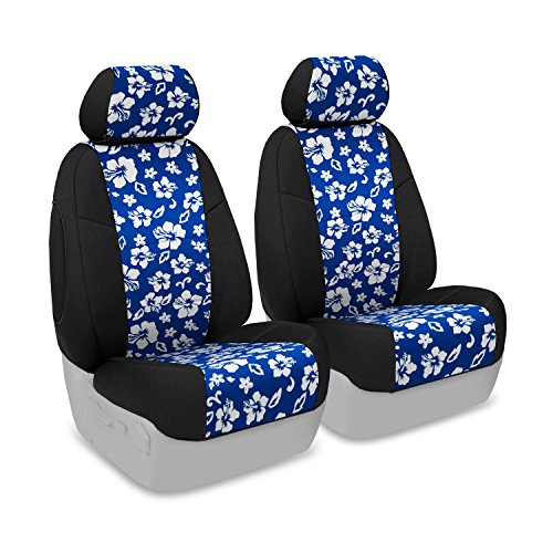 Coverking Custom Fit Front 50/50 Bucket Seat Cover for Select Jeep Wrangler Models - Neoprene (Hawaiian Blue with Black Sides) (Blue Hawaiian Seat Covers compare prices)