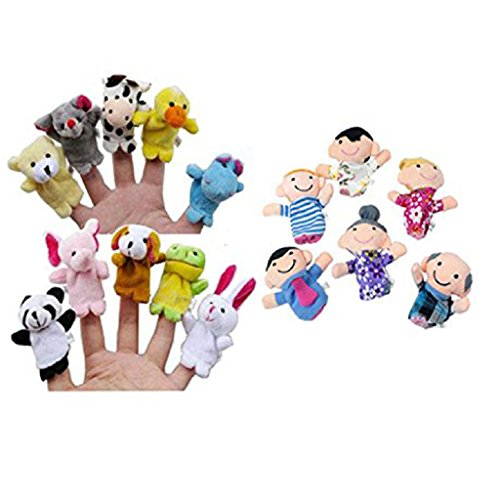 Educational-Toys16PC-Story-Finger-Puppets-10-Animals-6-People-Family-MembersLaimeng