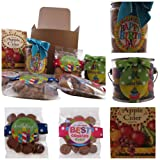 Snack Gift Box - Oh Sugar Treats - Jelly Beans, Crunchy Chocolate Chip Cookies, and Spiced Apple Cider Drink Cookie and Candy Mix Gift Pack - Ribbon Colors Vary - Happy Birthday Theme
