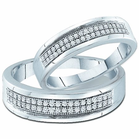 Men & Womens Diamond Wedding Bands Rings Set Sterling Silver (1/4ct), size 5