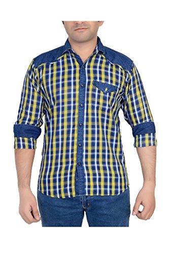 High-Hill-Mens-Yellow-Checkered-Denim-shirt-MLXL