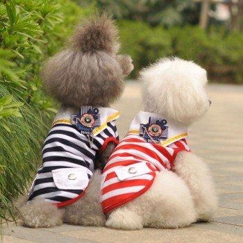 Dog Puppy Pet Stripe Vest Shirts T-Shirts Apparel Clothes Black Xs Cute