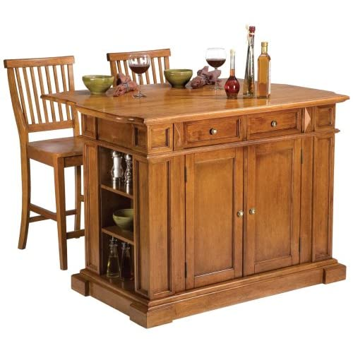 Home Styles 5004-948 Distressed Oak Kitchen Island and Stools