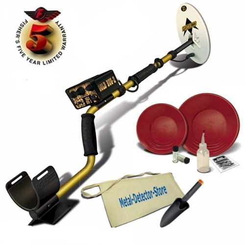"Fisher Gold Bug 2 Gold Metal Detector W/10"" Coil, Gold Pan Kit, Canvas Apron, Treasure Trowel"