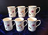 FINE BONE CHINA BUTTERFLY AND FLOWERS X 6 FREE NEXT DAY UK DELIVERY
