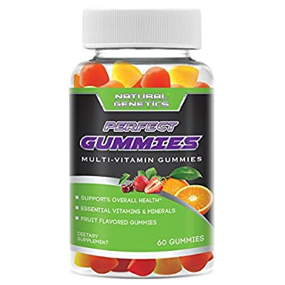 Best Adult Gummy Multivitamins, PERFECT GUMMIES By Natural Genetics - Daily Essential Multi Vitamin Minerals Promotes Overall Health Vitality Mood Energy for Men & Woman Supplement. Delicious Fruit Flavored Great Taste. 100% MONEY BACK GUARANTEE