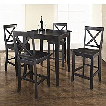 5 Pc Pub Dining Set w Cabriole Leg and X-Back Stools in Cherry
