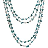 "HinsonGayle ""Maria"" 2-Strand Turquoise & Freshwater Cultured Pearl Necklace & Dangle Earrings Set"