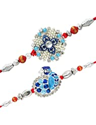 Mahi With White And Blue Colors And Crystals, Beads And Meena Beads Rakhi Combo Of Two Rakhis For Men CO1104511R