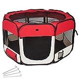 TecTake® Welpenlaufstall Tierlaufstall rot für Kleintiere wie Hunde, Hasen, Katzen