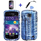 4 items Combo: Mini Stylus Pen + LCD Screen Protector Film + Case Opener + Blue Jean Camouflage Design Rubberized Snap on Hard Shell Cover Faceplate Skin Phone Case for Straight Talk Samsung Galaxy Proclaim 720C SCH-S720C / Verizon Samsung Illusion i110