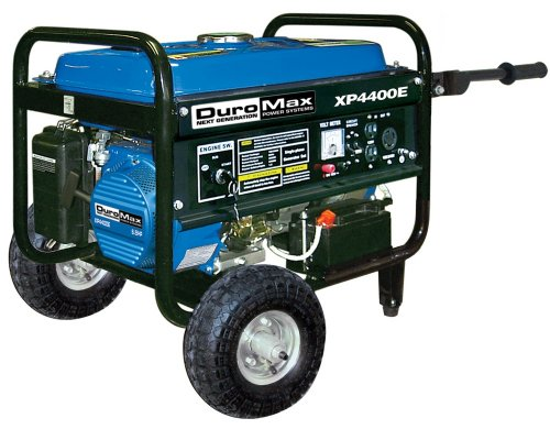 DuroMax XP4400E 4 400 Watt 7.0 HP OHV 4-Cycle Gas Powered Portable Generator With Wheel Kit And Electric Start