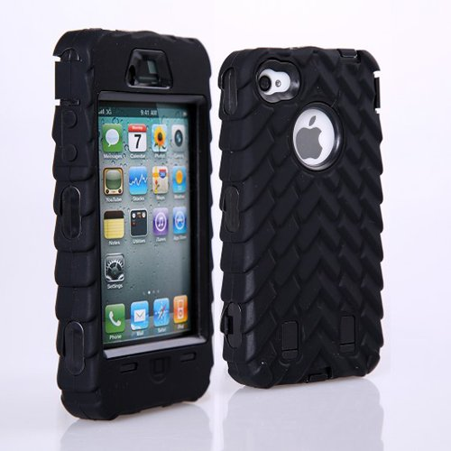 Meaci® Iphone 4 4S Case 3In1 Tire Stripe Combo Hybrid Defender High Impact Body Armorbox Hard Pc&Silicone Case (Black)