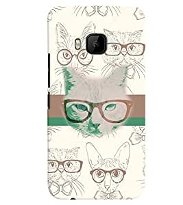 PrintVisa Animal Nerd Cat 3D Hard Polycarbonate Designer Back Case Cover for HTC One M9
