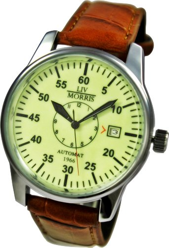 LIV MORRIS Automatik-Uhr Herrenuhr 1966 Bremen, mechanische Armbanduhr, SeaGull Uhrwerk, automatischer Aufzug, Edelstahl-Glasboden, lumineszierendes Zifferblatt, echtes Lederarmband, von LIV MORRIS