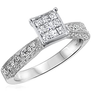 3/4 CT. T.W. Diamond Ladies Engagement Ring 14K White Gold- Size 11.25