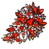 EVER FAITH® Flower Tear Drop Brooch Pendant Garnet Color January Birthstone