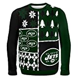 NFL New York Jets Busy Block Ugly Sweater, X-Large, Green