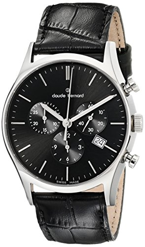 Claude Bernard Men's 10218 3 NIN Classic Dress Chronograph Analog Display Swiss Quartz Black Watch