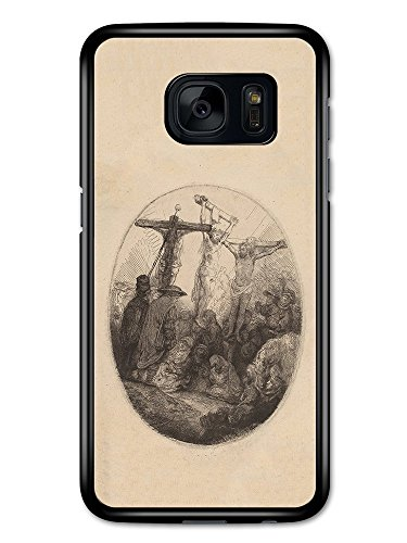 Rembrandt Van Rijn Christ Crucified Between the Two Thieves Artist Art Vintage custodia per Samsung Galaxy S7