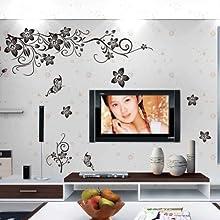 MLMSZ Black Flowers Butterfly Vines Floral Waterproof Home Decal Decor Wall Sticker Mural