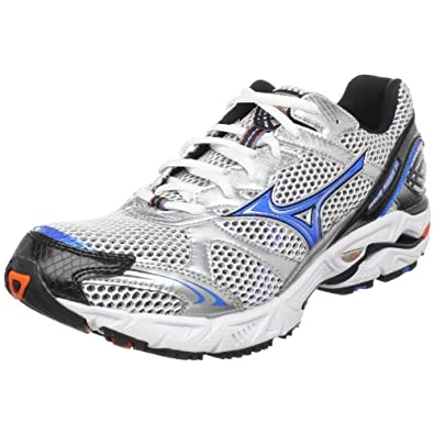 Mizuno Men's Wave Rider 14 Running Shoe,White/Reservoir-Anthracite,8 M US