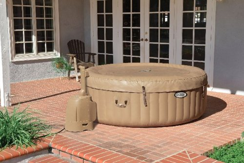 Intex Pure Spa 4 Person Inflatable Portable Hot Tub with 6 Filter Cartridges