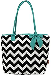 Quilted Chevron Print Shopping Tote Bag