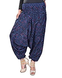 Soundarya Women's Regular Fit Harem Pants (AP1, Blue)