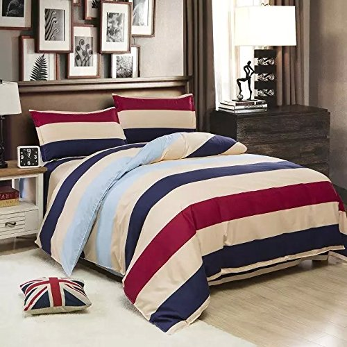 Ttmall Twin Full Queen Size Cotton Beige Blue Red Striped Printed Duvet Cover Set/bed Linens/bedding Sets (Full, 1duvet Cover+2pillowcases)