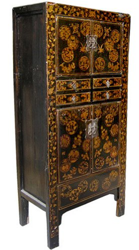 """Fine Authentic Asian Oriental Cabinetry - 69"""" Chinese Antique Black Laquered Cabinet w/ Hand Painted Design"""