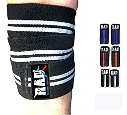RAD 1 Pair Heavy Duty Knee Wraps For Power-lifting/Bodybuilding,Gym White & Black