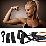 51GdFrl%2BNPL. SL160  Set of 5 NEW Premium Latex Power Resistance Bands Tubes Cords w/ free Door Anchor, Storage Bag and Exercise Instructions