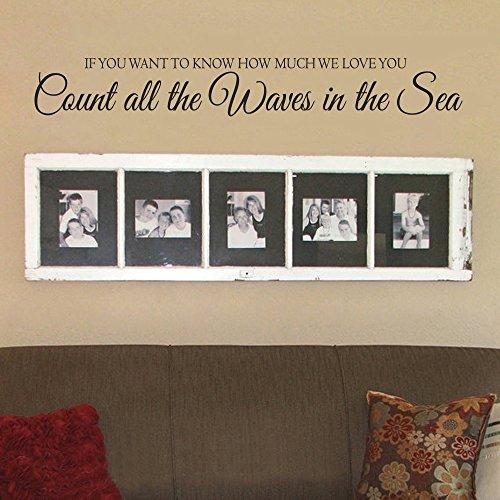 """Se vuoi sapere quanto We Love You, contare le onde nel mare-in vinile da parete camerette per bambini ancora cameretta D š Š cor (marrone scuro, 8""""H X58W)"""