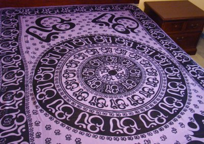 "Hippie/Indian Tapestry/Wall/Bedspread/Tablecloth Om Chakra 72"" x 108""CPS OCP"